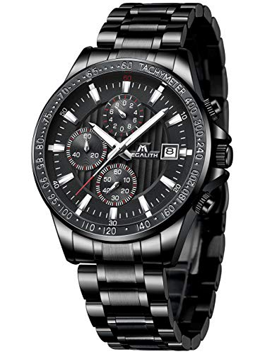 Watch Stainless Steel Sport - Mens Black Watches Men Military Waterproof Chronograph Sport Stainless Steel Wrist Watch Business Dress Date Analogue Quartz Watches for Man