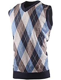Mens Argyle/Plain V-Neck Golf Sweater Vest (Many Colors Available)