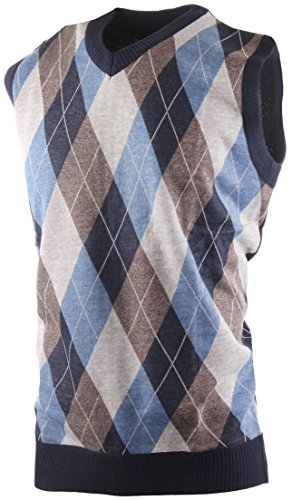 Enimay Men's Business Casual Fashion V Neck Argyle Golf Sweater Vest Argyle Blue | Brown Large