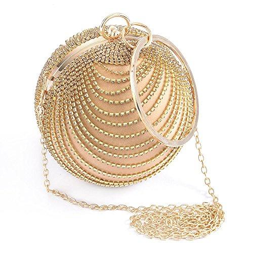 prom handbag Emour party round Golden clutch fashion ball Woman suede 0B0qwYv