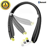 Bluetooth Headset, EReach AVT990 Wireless Foldable Sports Neckband Bluetooth Headphones Earphones with Retractable Earbuds & Mic for iPhone, Android and Other Bluetooth Enabled Devices-Sweatproof
