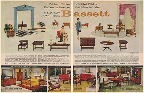 [1960 Bassett Furniture Tables Bedrooms Living Rooms Dining Rooms 2-Page Print Ad (65055)] (Bassett Dining Room Furniture)