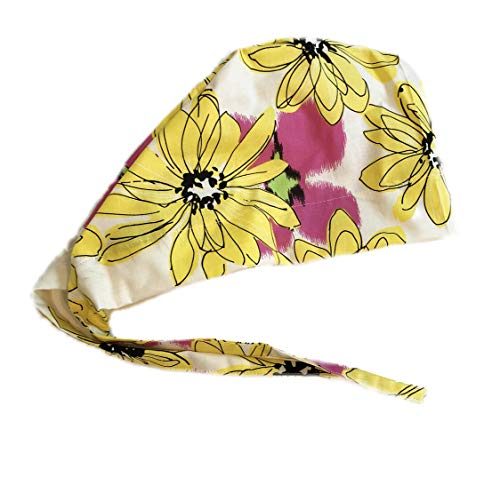Grace N May Scrub Cap Surgical Women - Front Fold Tie Back - Big Yellow Flowers