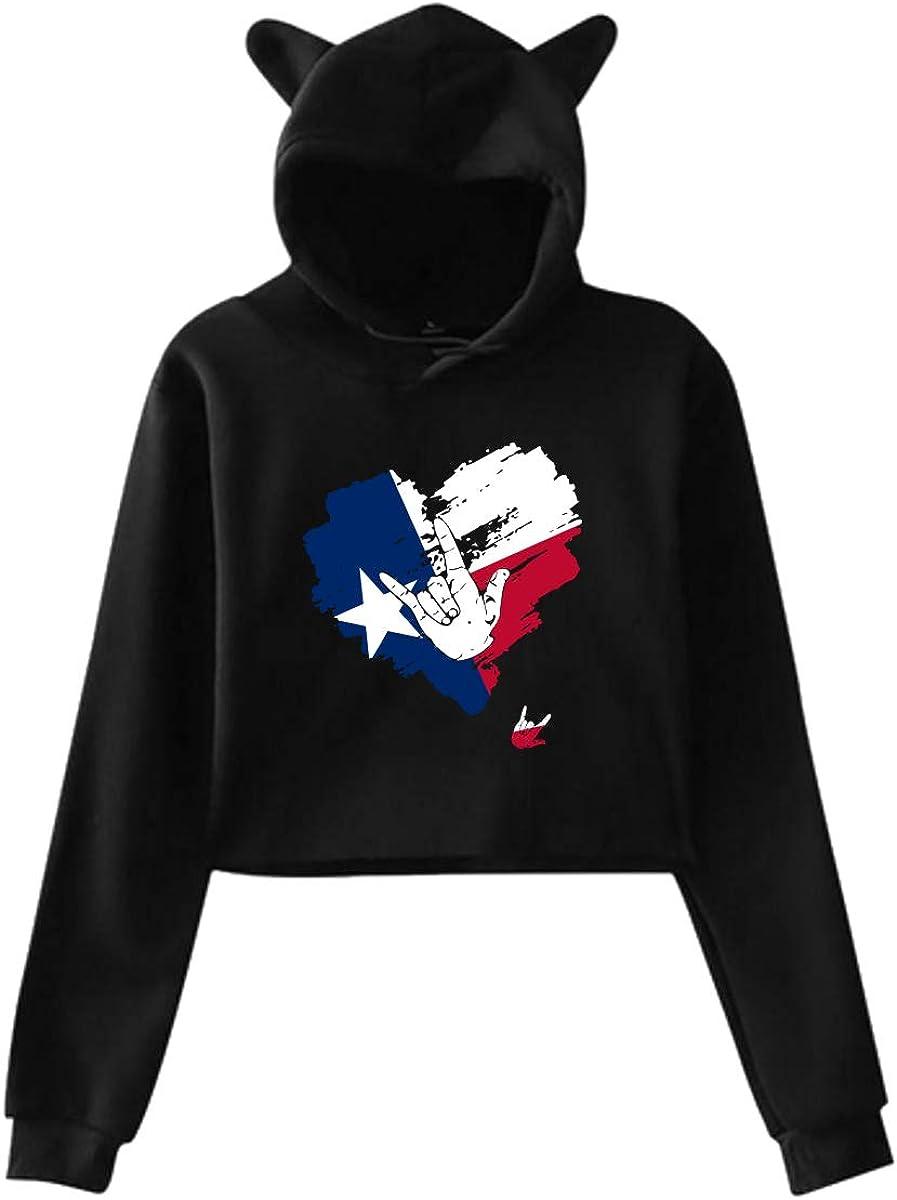 Girls Cute Cat Ear Hoodie Sweatshirts I Love You Texas Heart Dew-Navel Hoody Sweater