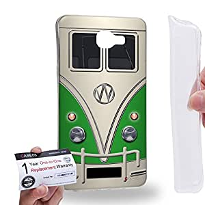 Case88 [Samsung Galaxy A9 (2016)] Gel TPU Carcasa/Funda & Tarjeta de garantía - Art Fashion Green Retro Bus Mini Van Art1202