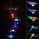 Chasgo Solar Wind Chimes Hummingbird Butterfly Dragonfly Solar Mobile with Changing Colors LED Lights for Ooutdoor Garden Backyard Patio Decor Review