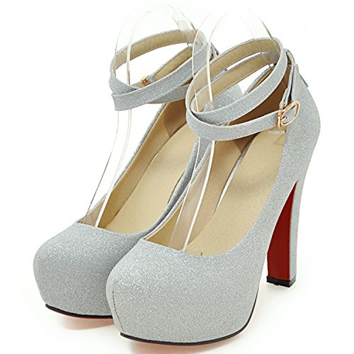 Azbro Mujer Zapato Bomba de Tacón Alto Correa Cruzada Plataforma con Puntera Redonda Plateado