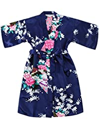 WonderFit Girls Stain Kimono Peacock Flower Robe for Spa Wedding Birthday Navy Blue 3-4Y