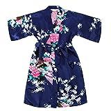 WonderFit Girls Stain Kimono Peacock Flower Robe for Spa Wedding Birthday Navy Blue 7-8
