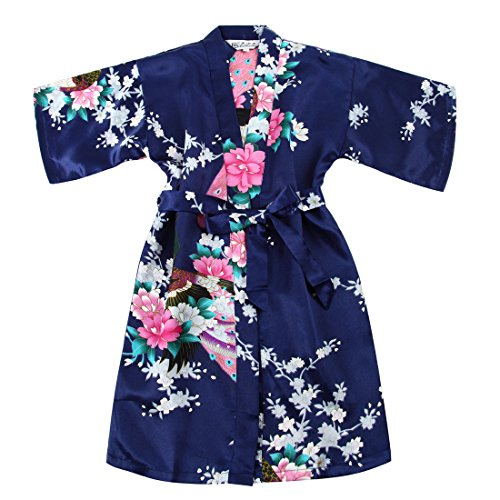 WonderFit Girls Stain Kimono Peacock Flower Robe for Spa Wedding Birthday Navy Blue 7-8