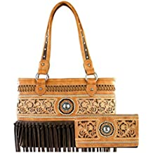 Concealed Carry Purse - Embroidered Fringe Purse with Wallet by Montana West