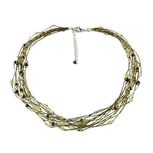 NOVICA Cultured Freshwater Pearl and Peridot Multi Strand Necklace, 19 , River of Green