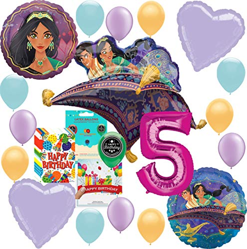 Aladdin Princess Jasmine Party Supplies Birthday Balloon Decoration Deluxe Bundle with Birthday Card and Happy Birthday Candy Treat Bags for 5th Birthday -