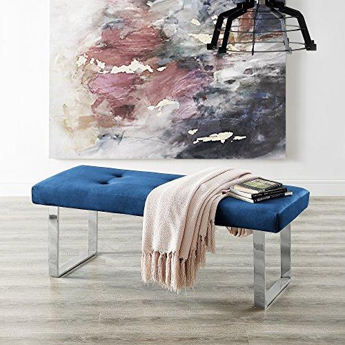 Inspired Home Oliver Blue Velvet Chrome Bench - Stainless Steel Legs | Tufted | Living-room, Entryway, Bedroom