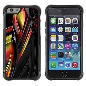 Híbridos estuche rígido plástico de protección con soporte para el Apple iPhone 6 (4.7) - liquid metal yellow black red abstract sharp