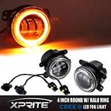 Xprite 4 Inch 60W Cree LED Fog Lights with Amber Halo Ring DRL for Jeep Wrangler 97-17 JK TJ LJ Off Road Fog Lamps