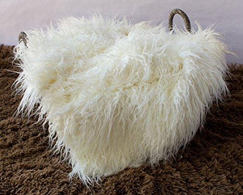 Bysn Baby Newborn Soft Faux Fur Photography Photo Faux Wool Basket Prop Stuffer Blanket White