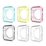 Moko [6-PACK] Ultra Slim Flexible Premium Soft TPU Transparent Full Body Cover Case for Apple Watch 42mm Version (2015) - Crystal Clear & Multi Colors (Not Fit Apple Watch 38mm Version 2015)
