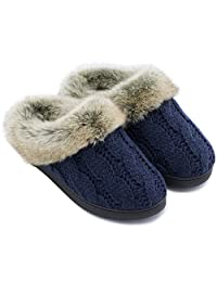 ULTRAIDEAS Women's Yarn Cable Knit Slippers Memory Foam Anti-Skid Indoor/Outdoor House Shoes w/Faux Fur Collar