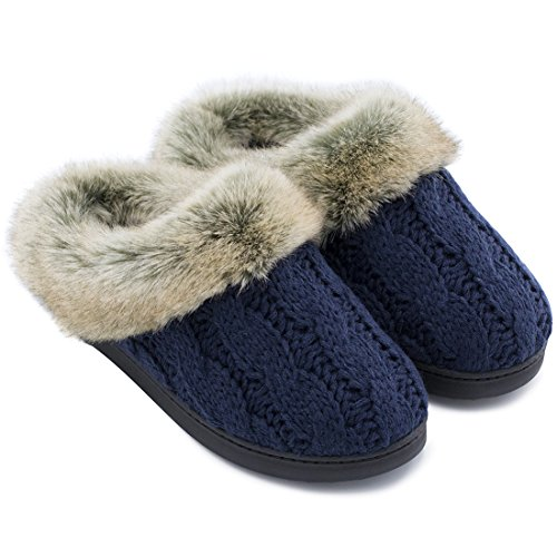 Soft Shoes Memory Blue Women's Skid amp; Slippers Outdoor House Cable Faux w Fur Foam Collar Anti Sole Yarn Knit Indoor Navy pwwXPdq