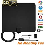 [2018 Newest] HDTV Antenna,Digital Amplified HD TV Antenna 60-80 Miles Range Indoor Digital TV Antenna with Signals Booster - High Performance Coaxial Cable - Support All TV