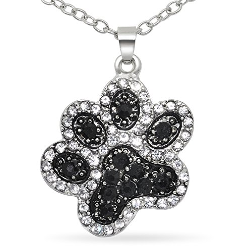 Price comparison product image Katie's Style Cat Dog Paw Crystal Necklace Black and White Pet Animal Lover Pendant