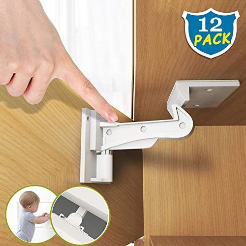 Child Safety Cabinet Locks 12 Packs Easy to Install Invisible Design Baby Cabinet Safety Latches Strong lasting Adhesion No Drilling Fit Any Cabinet Drawer Latches White