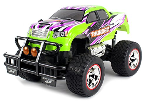 V-Thunder Pickup Big Remote Control RC Truck 1:14 Scale Size Lights & Music Series Ready to Run w/ Working Suspension, Spring Shock Absorbers (Colors May Vary) (Pick Up Truck For Kids)