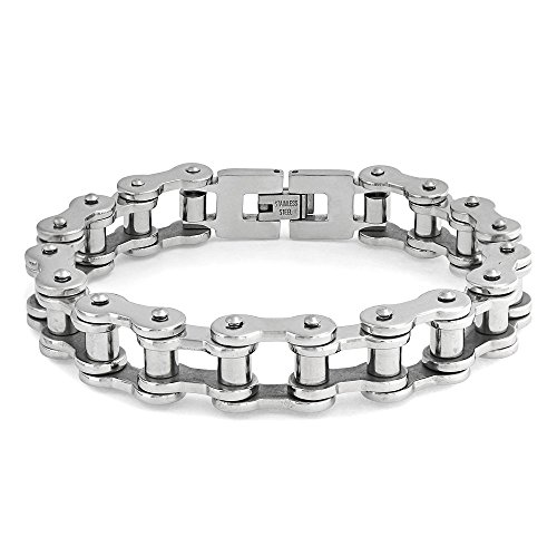 Heavy Mechanic Link Mens Biker Bike Bicycle Chain Bracelet for Men Silver Tone Stainless Steel