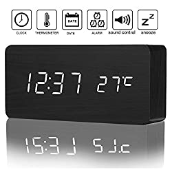 Izaway Wooden Digital Alarm Clock with Sounds Control, 3 Levels Brightness, 3 Alarm Sets, LED Electronic Desktop Digital Table Alarm Clocks Display 12/24H Time Date Temperature for Bedroom Office