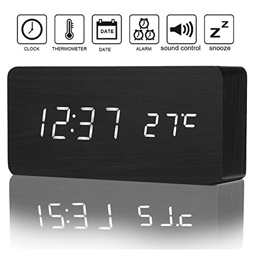 Izaway Wooden Digital Alarm Clock with Sounds Control, 3 Levels Brightness, 3 Alarm Sets, LED Electronic Desktop Digital Table Alarm Clocks Display 12/24H Time Date Temperature for Bedroom Office
