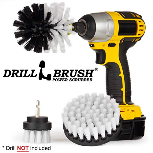 Drillbrush 3 Piece Drill Brush Cleaning Tool Attachment Kit for Scrubbing/Cleaning Tile, Grout, Shower, Bathtub, and All Other General Purpose Scrubbing (Automotive Soft-White) ()