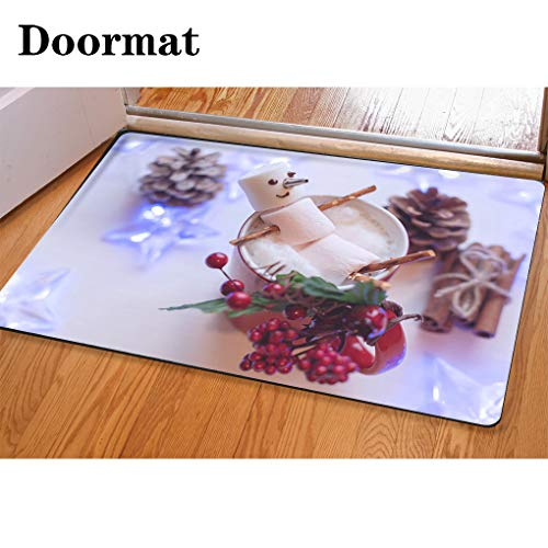 HooMore 3D Printing and Dyeing,Bathroom Carpet, Door mat,Marshmallow Snowman in red Cup of hot Chocolate Flannel Foam Shower mat, Absorbent Kitchen Door Carpet -