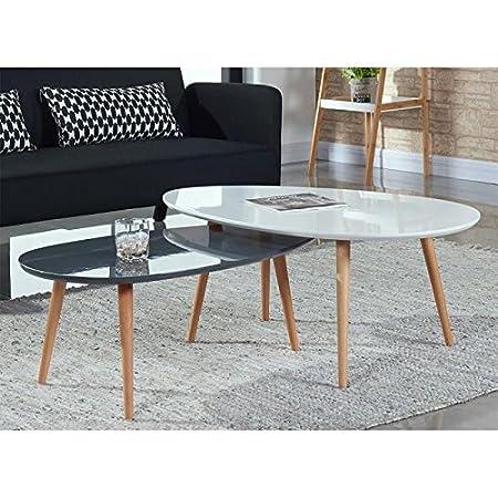 STONE Table Basse Ovale Scandinave Gris Laqué   L 88 X L 48 Cm