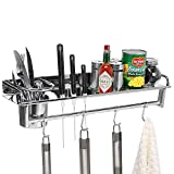 Chrome Wall Mounted Kitchen Spice Rack w/ Utensil / Pot / Pan Hanger Hooks, Silverware Caddy, Knife Slots