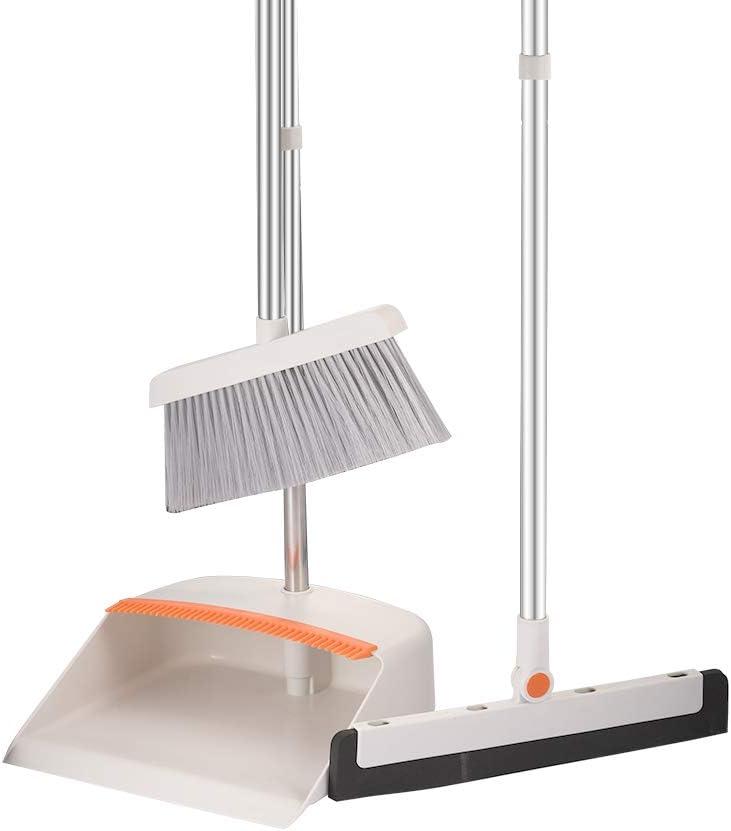 BHANU Broom Dustpan Set Floor Squeegee,Adjustable Handle with Dustpan Teethfor Cleaning Kitchen House Floor Office Garage Barber Shop Indoor Use Broom and Dustpan Set