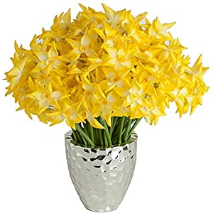12 Inch Narcissus Poeticus Stem - (sold by the dozen) Signature Foliage Yellow 4