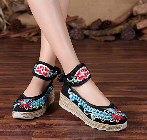 AvaCostume Womens Hot Drilling Phoenix Embroidery Platform Ankle Belt Shoes Black O0tv2a72vj