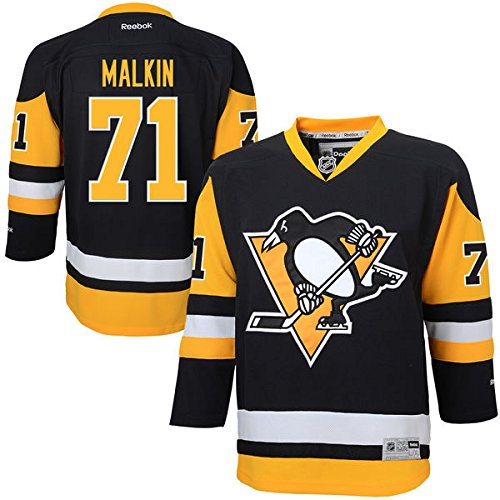 Pittsburgh Penguins Reebok Premier Jersey (Evgeni Malkin Pittsburgh Penguins Reebok Youth Premier Stitched Alternate Jersey – Black (Youth S/M))