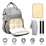 Diaper Bag, Multi-Functional Baby Changing Fabric Bag, Stylish & Durable Waterproof Nappy Backpack with Wide Opening, Large Capacity, and Stroller Straps for Baby Care, Picnic, and Travel