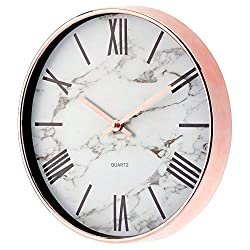 mDesign Modern Stylish Wall Clock for The Office, Bedroom, Kitchen, Bathroom, 11.5 Inch Diameter - Rose Gold Frame and Hands, Large Black Numbers on a Marble Background with a Clear Glass Cover