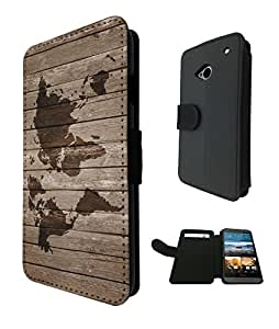 596 - Vintage Wood Design Look Vintage World Map Design Fashion Trend TPU Leather Flip Case For htc one M9 Full Case Flip Credit Card TPU Leather Purse Pouch Defender Stand Cover