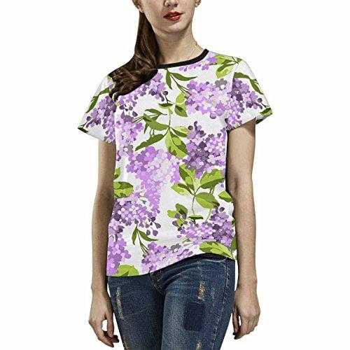 Zenzzle Mujer Con Lilas Estampado Camiseta De Corta Flores Manga Para UUrqwP
