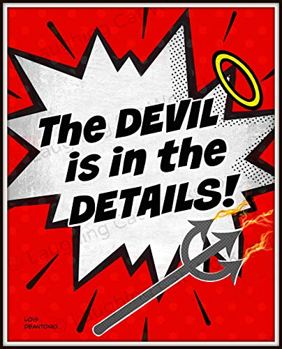 The devil is in the details Back to School Teachers poster Work Office print Funny superheroes comics cartoon print Teen dorm room decor Hipster quote print Halloween Devil art Angel art -