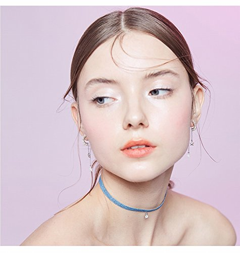 DEED Sen Necklace Female Simple Collar Harajuku Neck Strap Clavicle Chain Five-Pointed Star Denim,Light blue