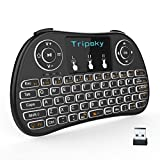 Wireless Keyboard, Tripsky T9 Backlit Wireless Mini Keyboard, Handheld Remote with Touchpad Mouse for Android TV Box, Windows PC, HTPC, IPTV, Raspberry Pi, XBOX 360, PS3, PS4(Black)