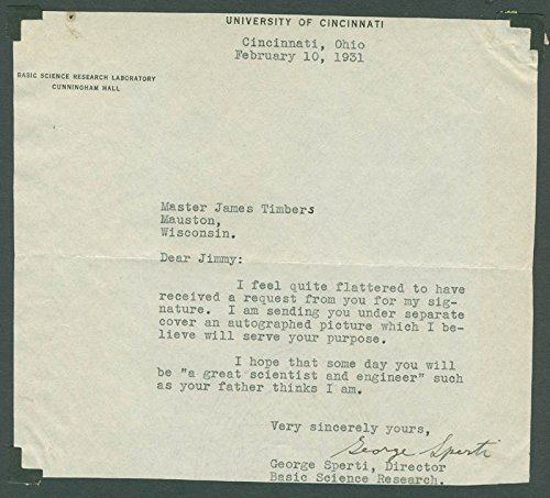 George Sperti Typed Letter Signed 02/10/1931