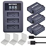 Batmax 3Pcs 1600mAh Gopro 5 Batteries Replacement + USB LED 3-slots Charger Type-C port for GoPro Hero 5 Hero 6 Camera Black AHDBT-501(Work with Firmware v02.51 - v02.00 - v01.57 - v01.55 Future Update