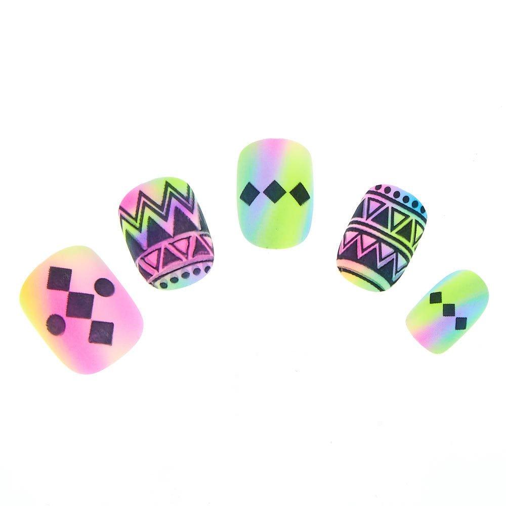 Claire's Girl's 24 Matte Neon Aztec Square False Nails Black/Pink Claire' s