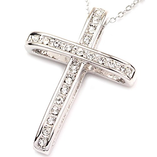 (FC JORY White Gold Plated Rhinestone Cross Cubic Zirconia Crystal Pendant Chain Necklace Silver)